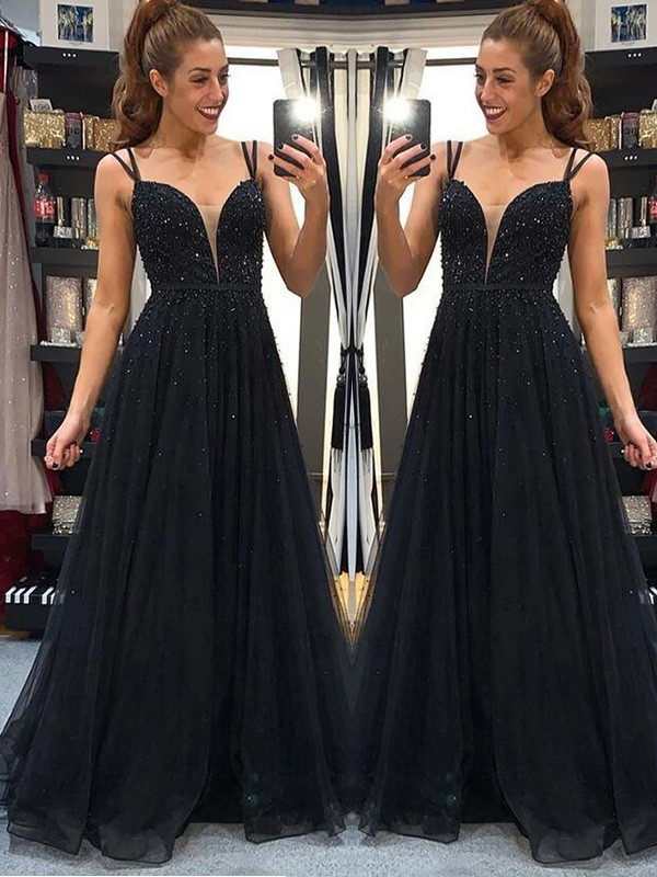 A-Line/Princess Tulle Spaghetti Straps Beading Floor-Length Sleeveless Dresses