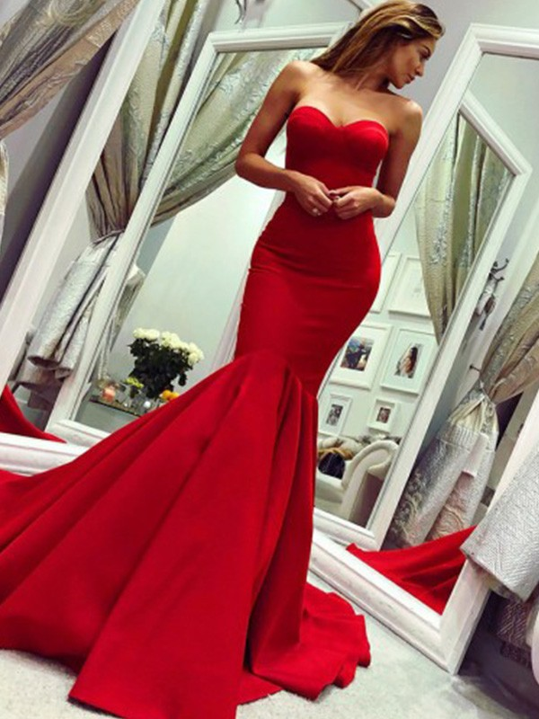 Trumpet/Mermaid Ruffles Strapless Court Train Satin Sleeveless Dresses