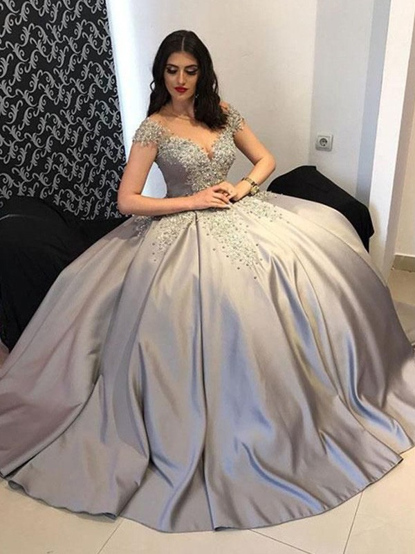 Ball Gown Satin Off-the-Shoulder Sleeveless Beading Sweep/Brush Train Dresses