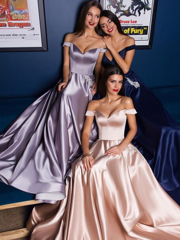 A-Line/Princess Satin Off-the-Shoulder Ruffles Sleeveless Sweep/Brush Train Dresses