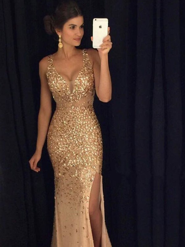 Smart Sheath V-neck Cut Jersey Long Dresses With Sequin