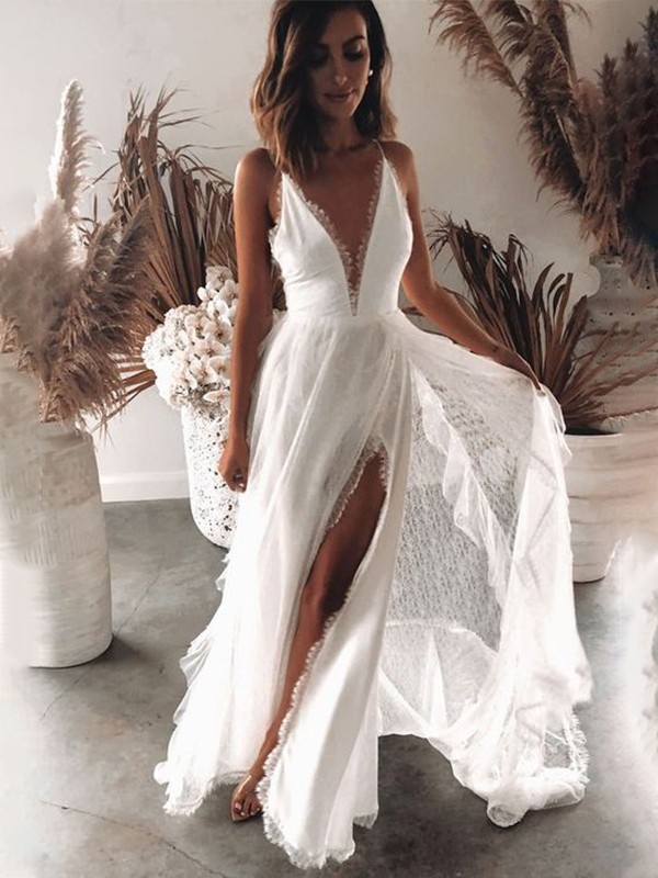 Hot A-Line V-neck Cut Lace Long Wedding Dresses with Ruffles