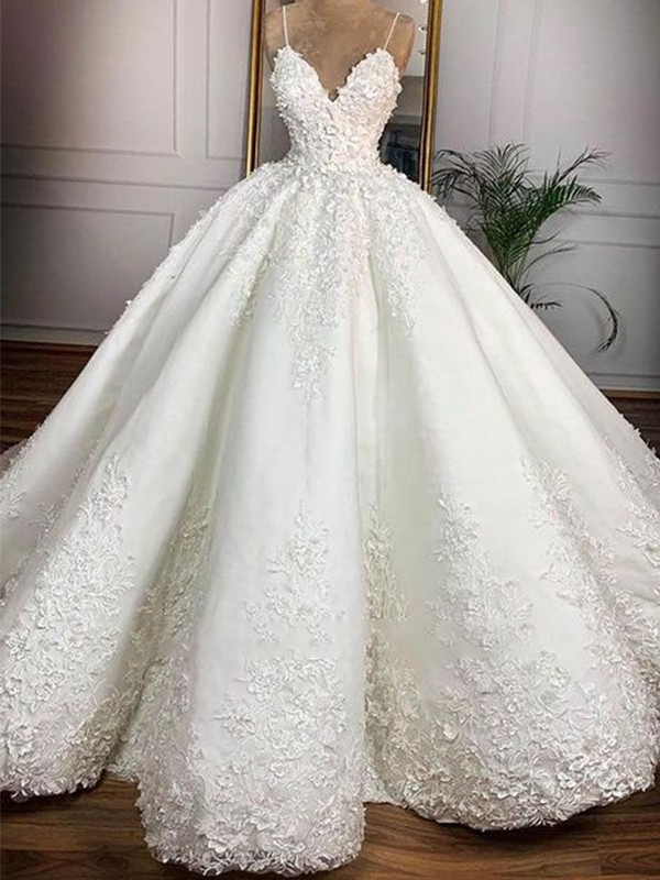Trendy Ball Gown Spaghetti Straps Cut Satin Long Wedding Dresses with Applique