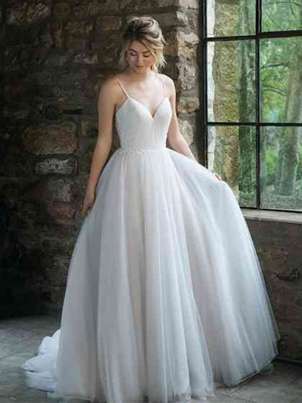 Charming A-Line Spaghetti Straps Cut Tulle Long Wedding Dresses with Ruffles