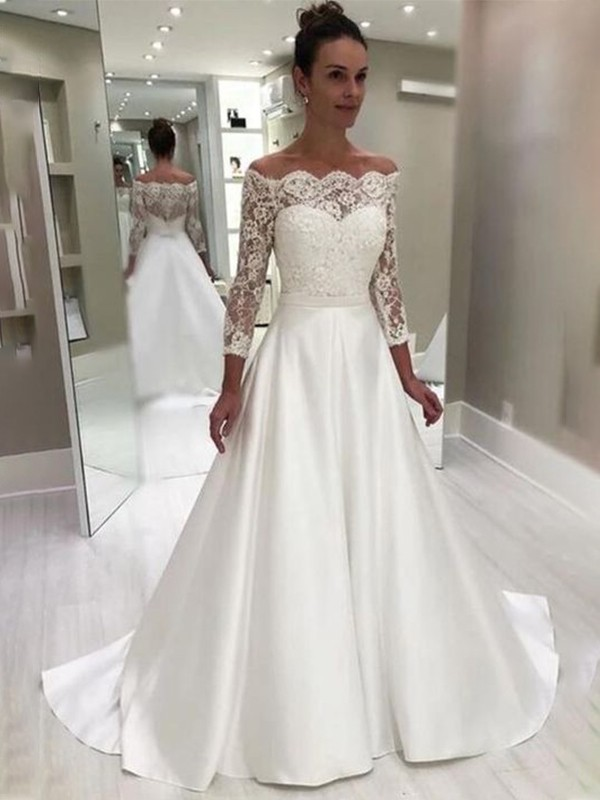 Amazing A-Line Off-the-Shoulder Cut Satin Long Wedding Dresses with Lace
