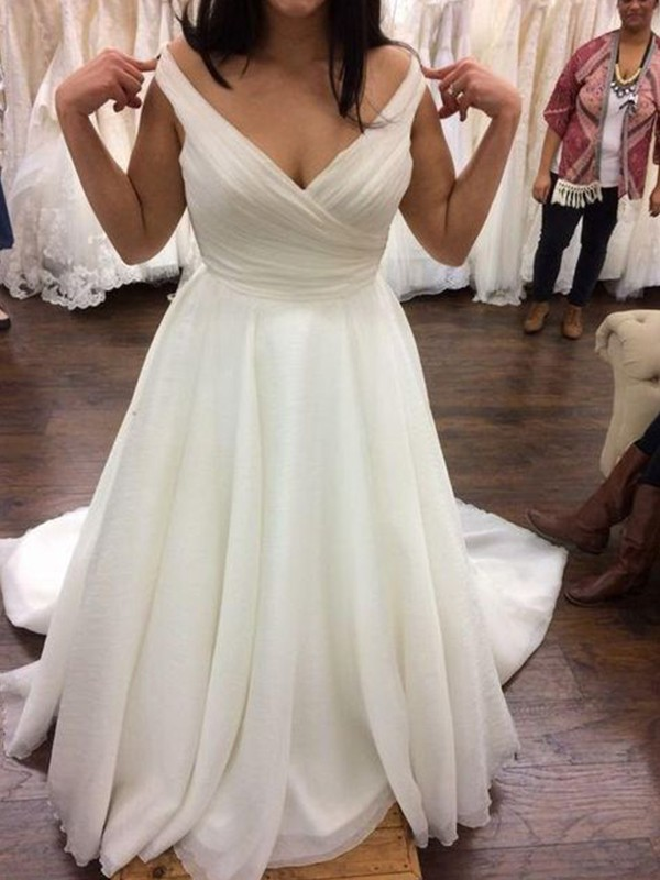 Attractive A-Line V-neck Cut Chiffon Long Wedding Dresses with Ruffles