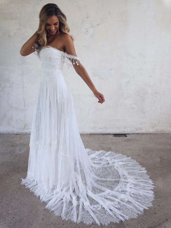 Dreamlike A-Line Off-the-Shoulder Cut Tulle Long Wedding Dresses with Lace