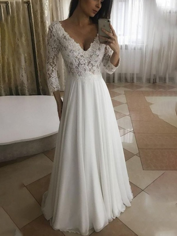 Soft A-Line V-neck Cut Chiffon Long Wedding Dresses with Applique