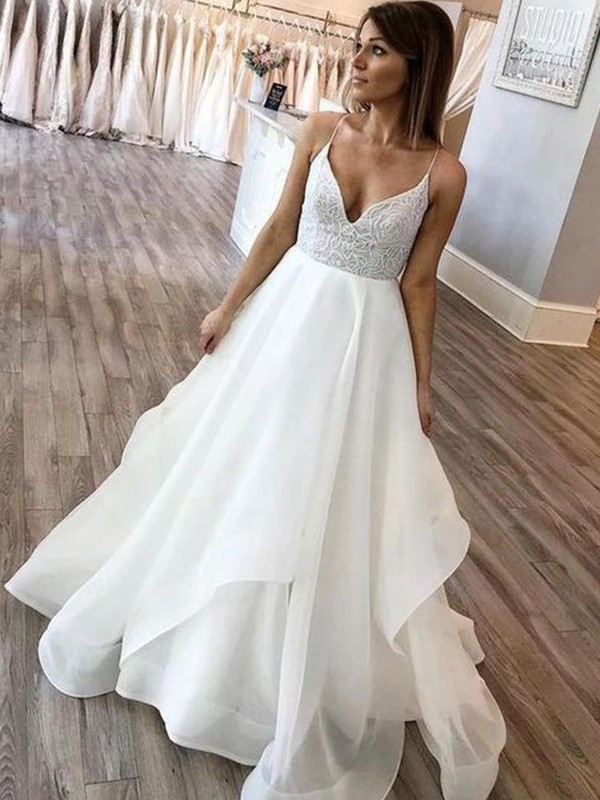 Chic A-Line Spaghetti Straps Cut Chiffon Long Wedding Dresses with Ruffles