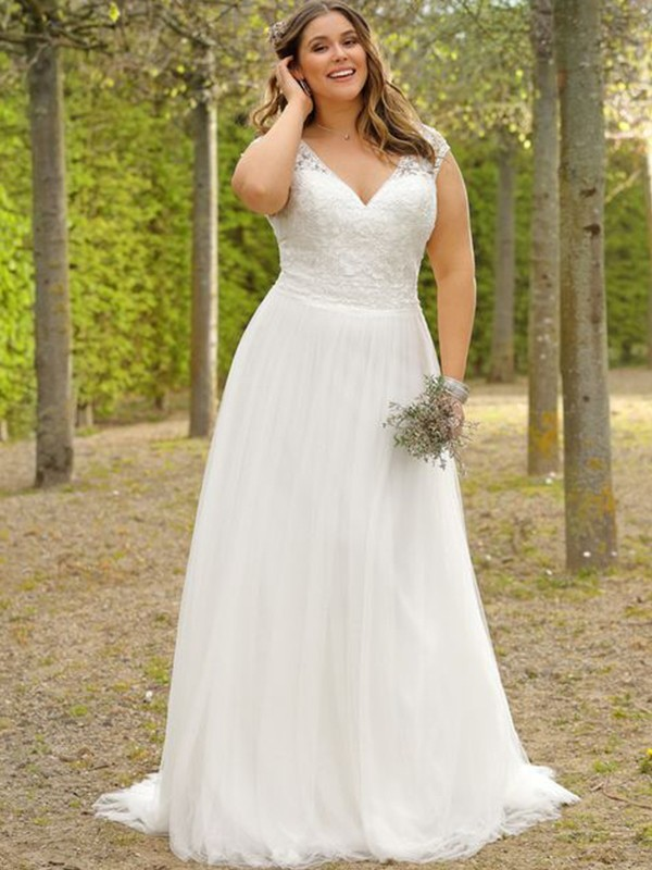 Stylish A-Line V-neck Cut Tulle Long Wedding Dresses with Applique
