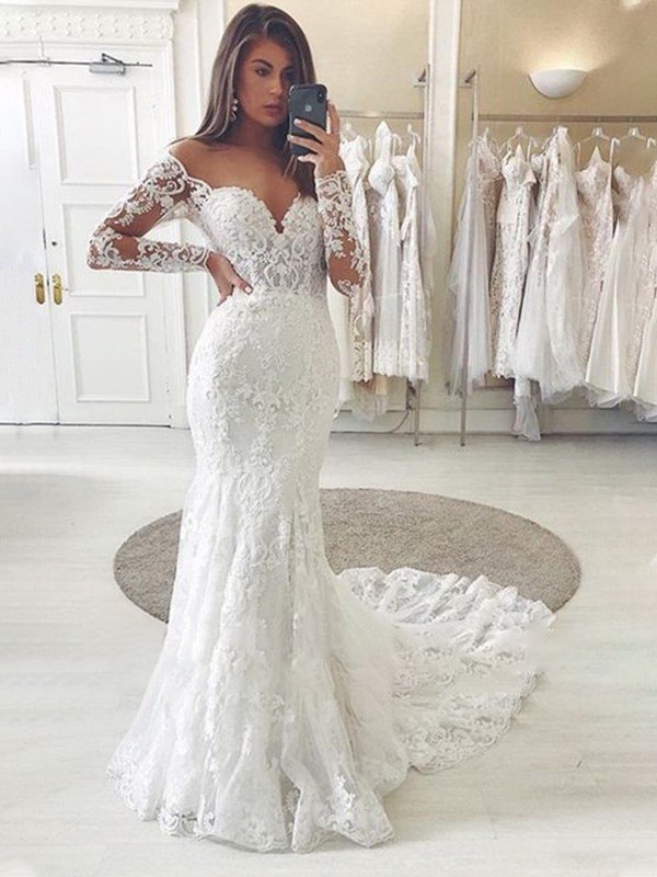 Glamorous Mermaid Off-the-Shoulder Cut Tulle Long Wedding Dresses with Applique