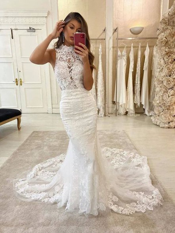 Popular Mermaid Halter Cut Tulle Long Wedding Dresses with Applique