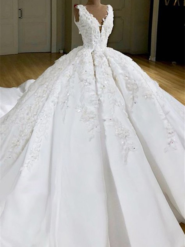 Gorgeous Ball Gown V-neck Cut Satin Long Wedding Dresses with Applique