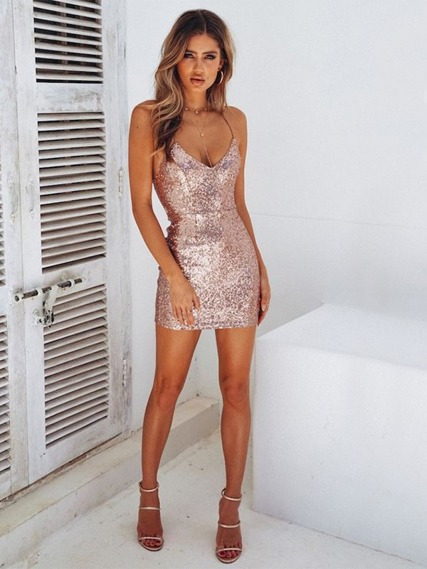 Stylish Sheath Spaghetti Straps Cut Sequins Short Dresses