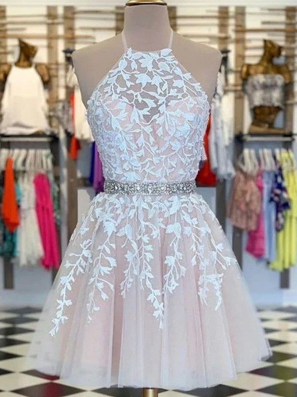 Nice A-Line Halter Cut Tulle Short Dresses with Applique