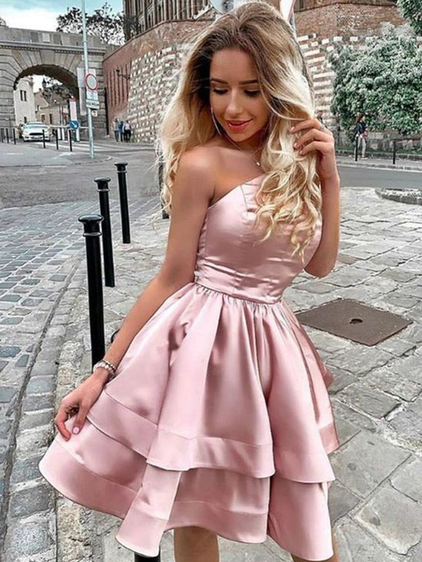 Charming A-Line One-Shoulder Cut Satin Short Dresses with Ruffles