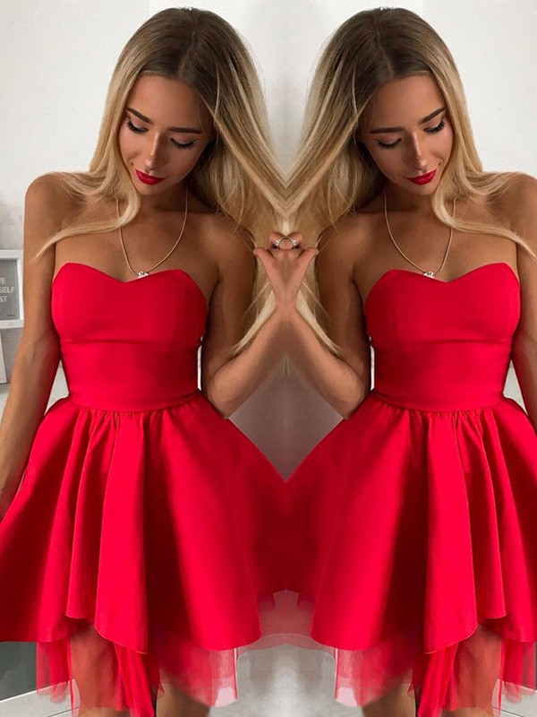 Awesome A-Line Sweetheart Cut Satin Short Dresses with Ruffles