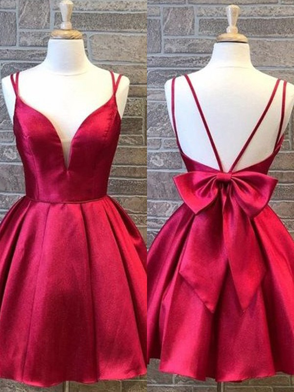 Exquisite A-Line Spaghetti Straps Cut Satin Short Dresses with Bowknot