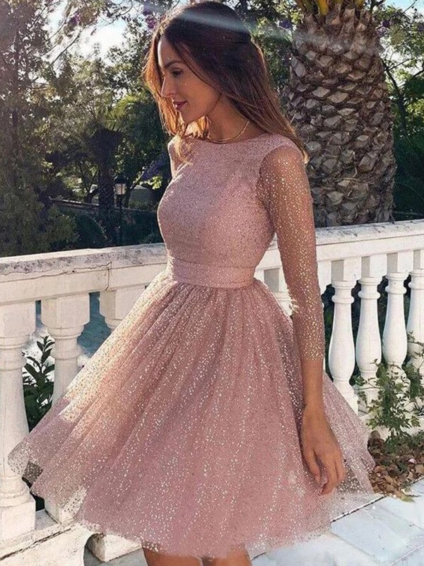 Special A-Line Scoop Cut Sequins Short Dresses with Ruffles