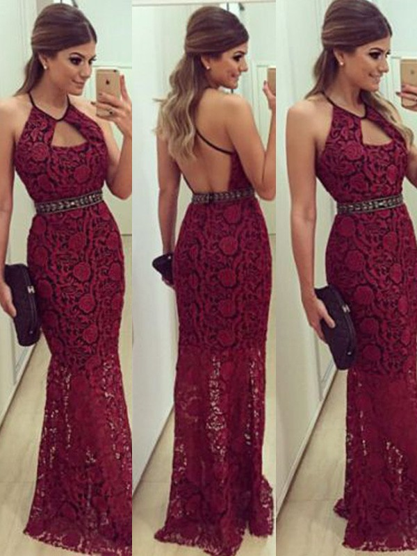 Trendy Sheath Halter Cut Lace Long Dresses With Beading