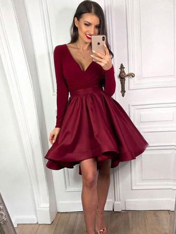 Gorgeous A-Line V-neck Cut Satin Short Dresses with Ruffles