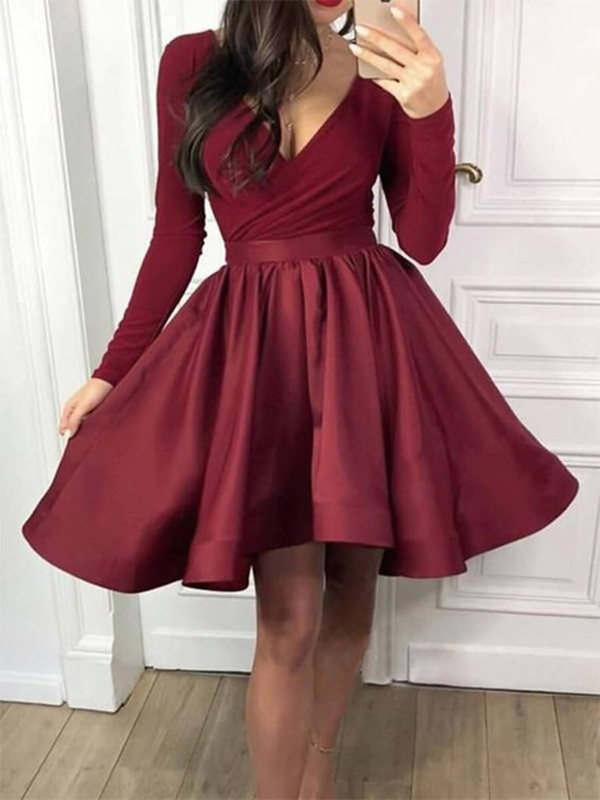 Pretty A-Line V-neck Cut Satin Short Dresses with Ruffles