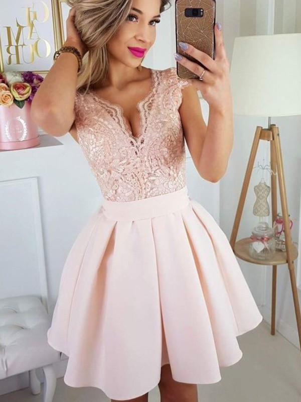 Bright A-Line Short Sweetheart Cut Satin Short Dresses with Applique
