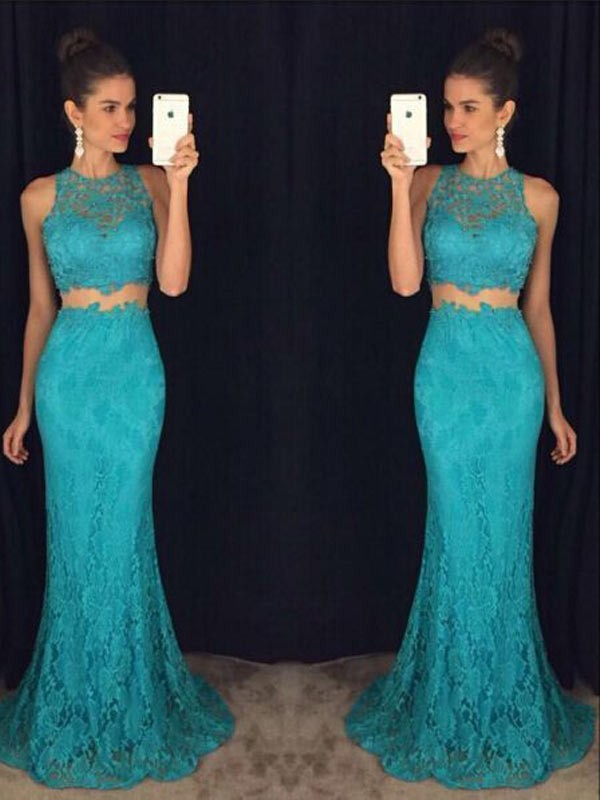 Gorgeous Sheath Scoop Cut Lace Long Dresses With Ruffles