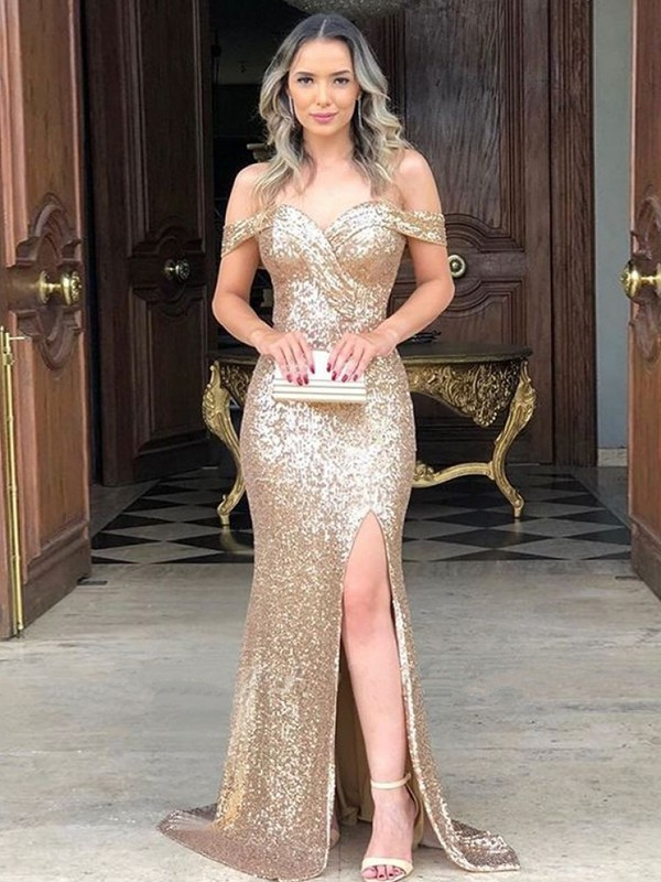 Sheath/Column Sweep/Brush Train Off-the-Shoulder Sleeveless Sequins Ruched Dresses