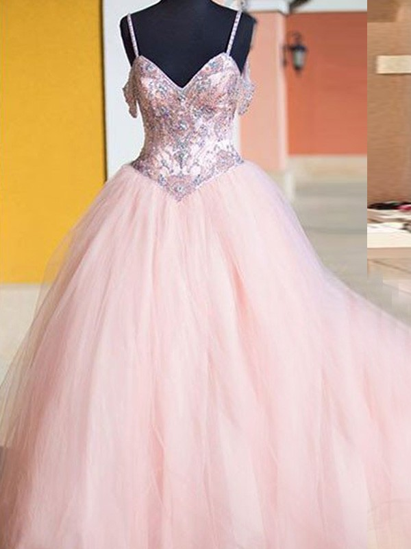 Pretty Ball Gown Spaghetti Straps Cut Tulle Long Dresses With Crystal