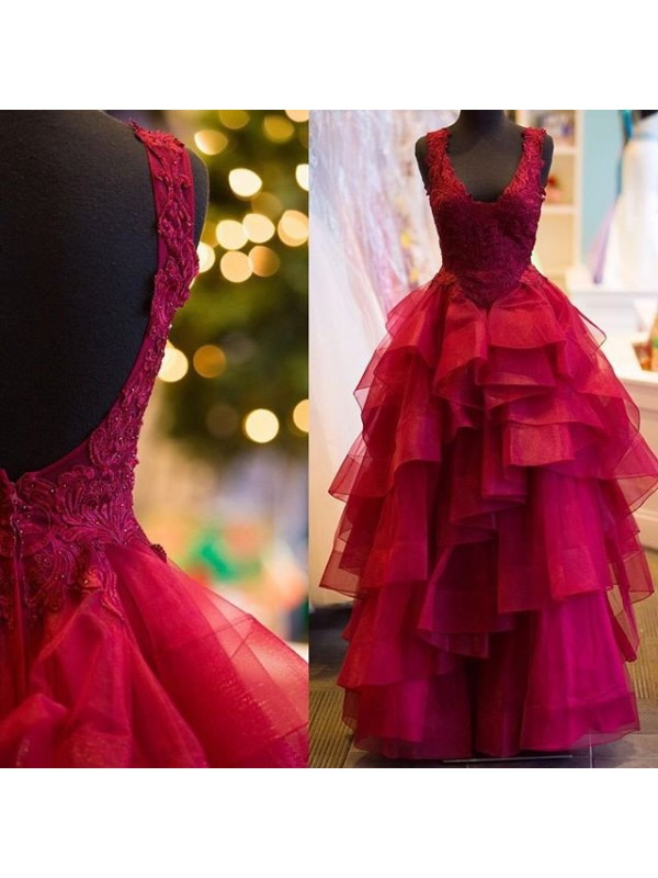 Nice Ball Gown V-neck Cut Tulle Long Dresses With Applique