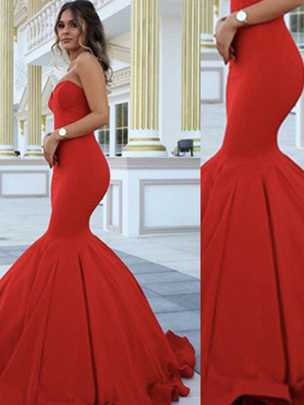 Charming Mermaid Sweetheart Cut Satin Long Dresses With Ruffles