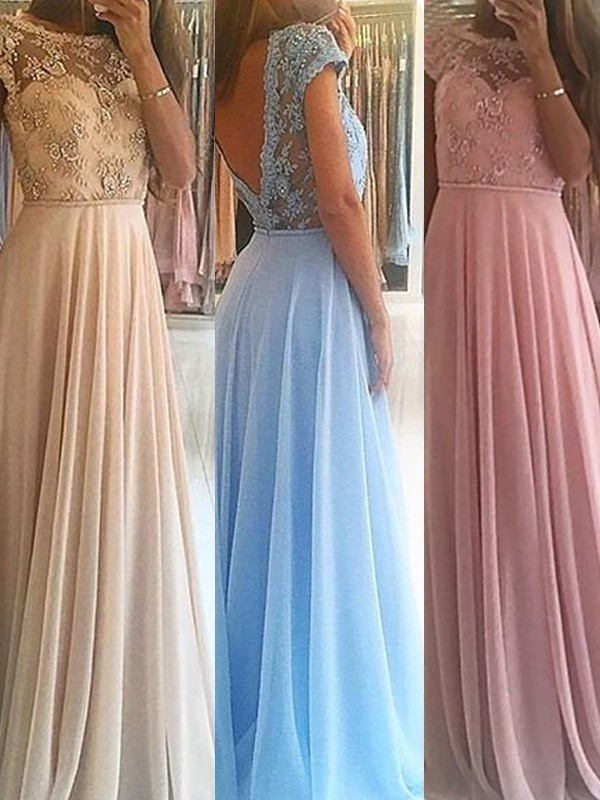 Awesome A-Line Scoop Cut Chiffon Long Dresses With Beading
