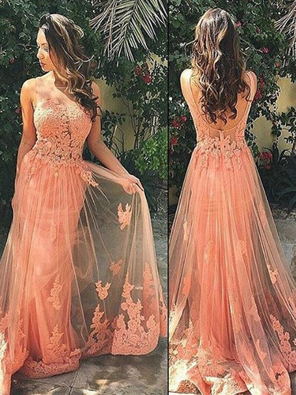 Graceful A-Line Straps Cut Tulle Long Dresses With Applique