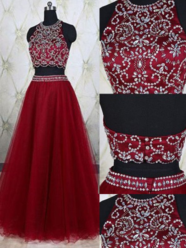 Awesome A-Line Jewel Cut Tulle Long Two Piece Dresses With Beading
