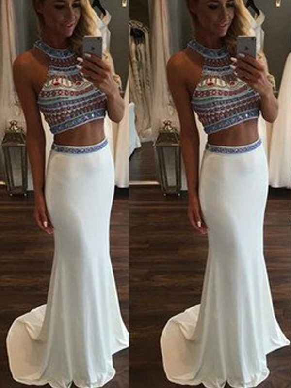 Amazing Mermaid Halter Cut Chiffon Long Two Piece Dresses With Beading