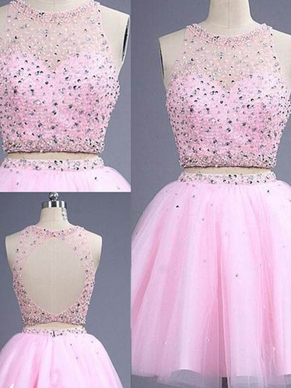 Lovely A-Line Scoop Cut Tulle Short Two Piece Dresses With Beading
