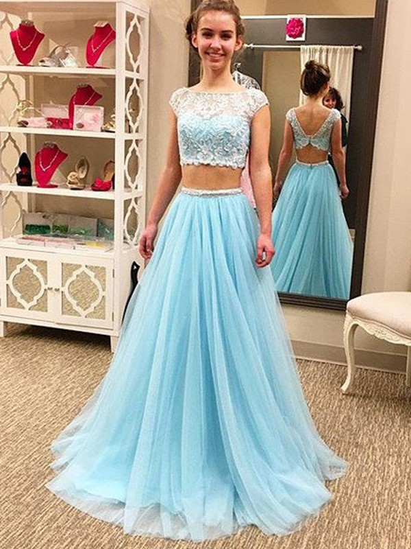 Soft A-Line Scoop Cut Tulle Long Two Piece Dresses With Beading