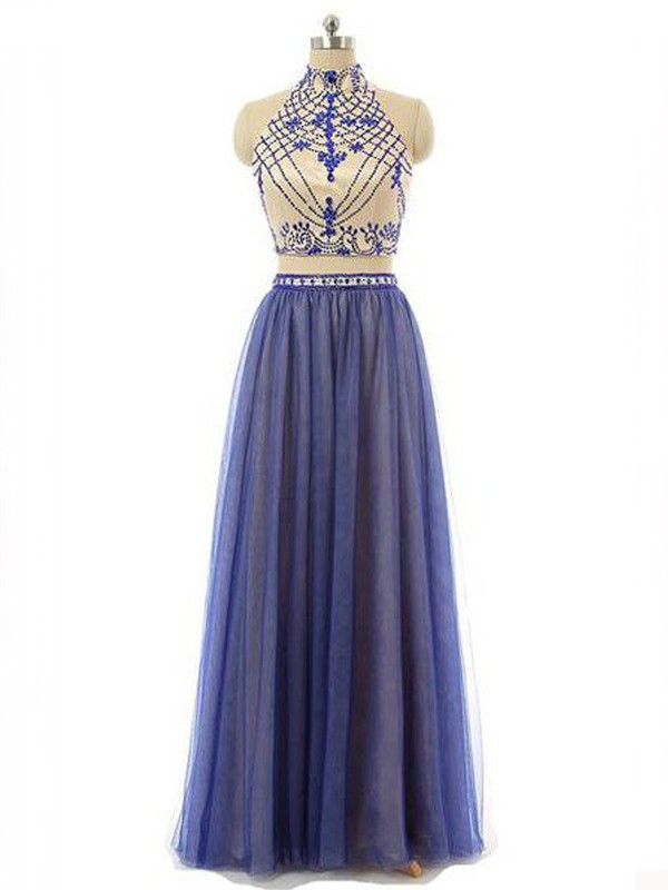Radiant A-Line High Neck Cut Chiffon Long Two Piece Dresses With Beading