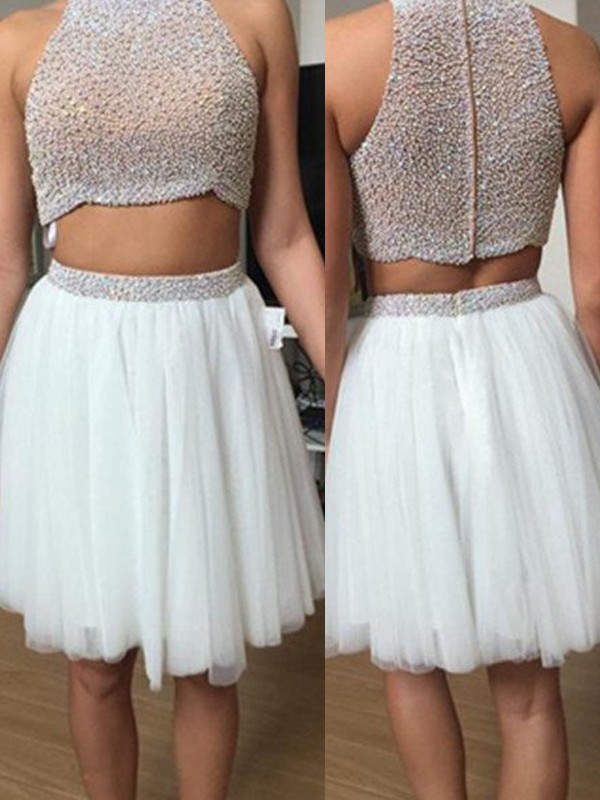 Hot A-Line High Neck Cut Tulle Short Two Piece Dresses With Beading