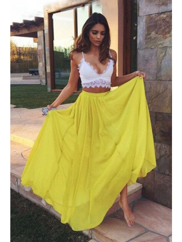 Pretty A-Line Straps Cut Chiffon Long Two Piece Dresses With Lace