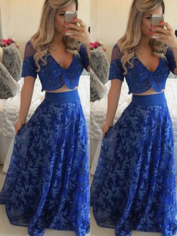 Gorgeous A-Line V-neck Cut Lace Long Two Piece Dresses With Ruffles