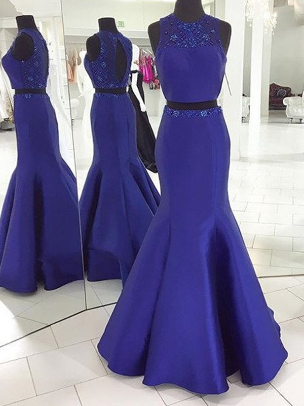 Amazing Mermaid Scoop Cut Satin Long Two Piece Dresses With Beading