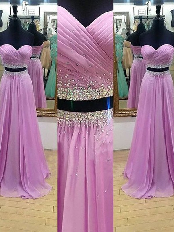 Stunning A-Line Sweetheart Cut Chiffon Long Two Piece Dresses With Beading