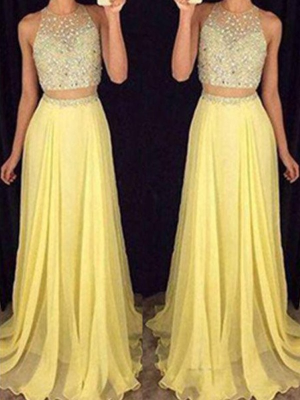 Fashional A-Line Scoop Cut Chiffon Long Two Piece Dresses With Beading