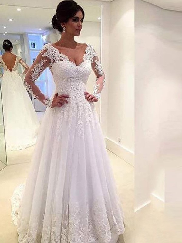 Hot Ball Gown V-neck Cut Tulle Long Wedding Dresses With Lace