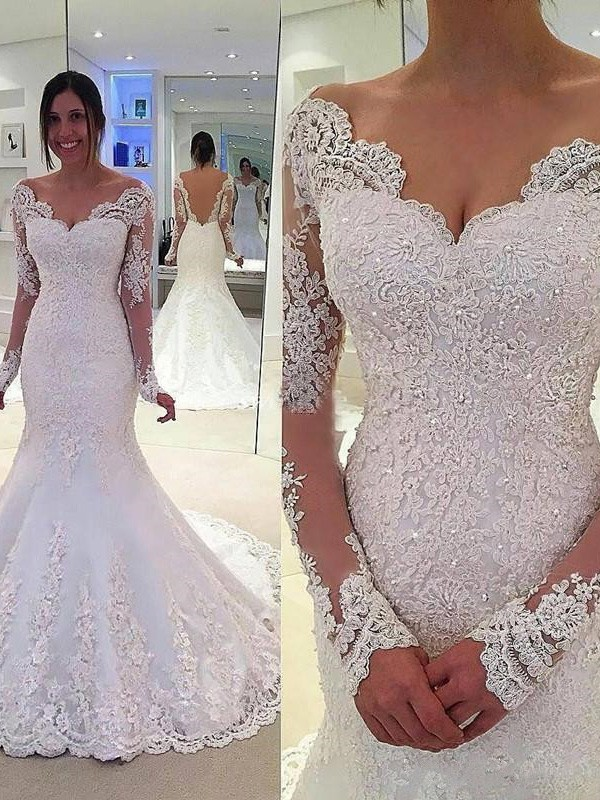 Glamorous Mermaid V-neck Cut Tulle Long Wedding Dresses With Lace