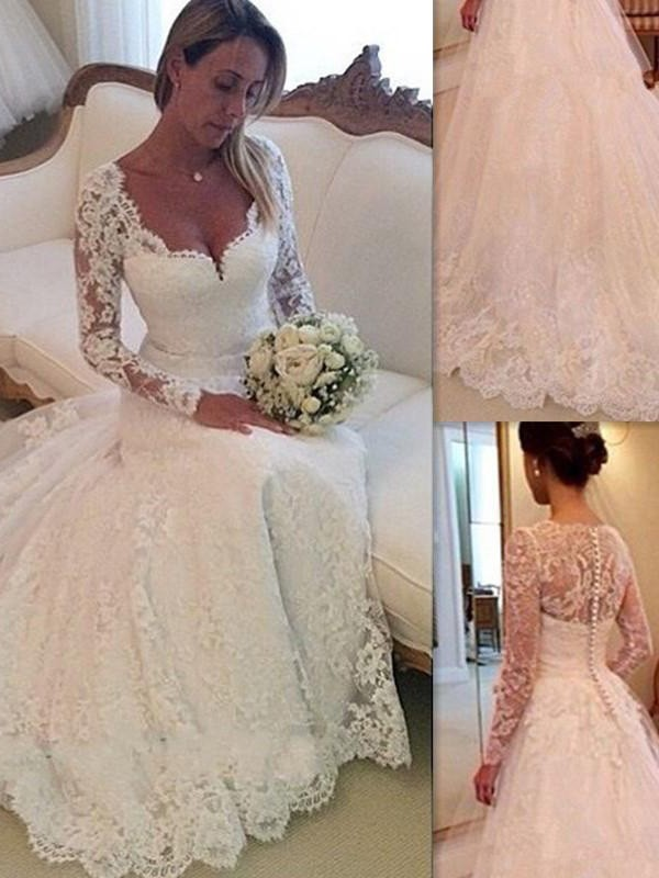 Trendy Ball Gown V-neck Cut Tulle Long Wedding Dresses With Lace