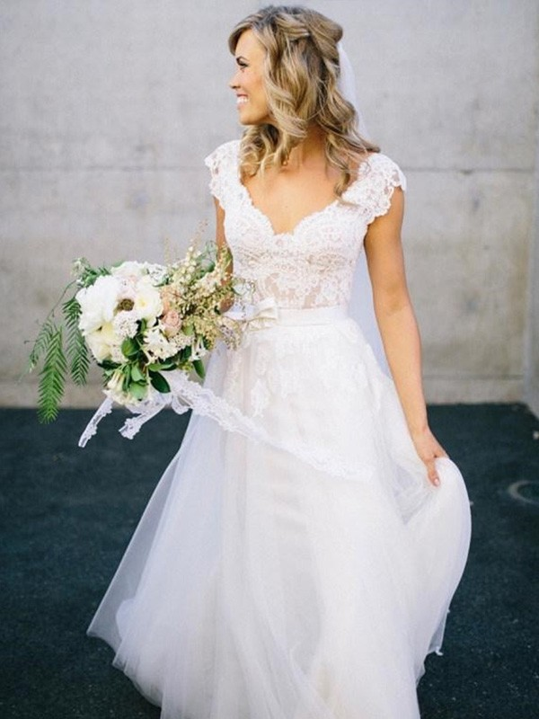 Nice A-Line V-neck Cut Tulle Long Wedding Dresses With Lace