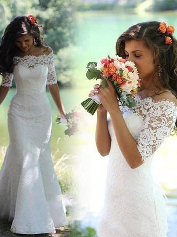 Charming Mermaid Off-the-Shoulder Cut Lace Long Wedding Dresses With Lace